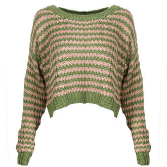 View Item Green Pink Striped Cropped Knit Jumper